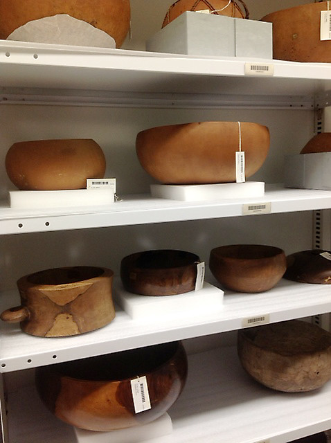 <p>The University of Hawaii delegation was treated to a special visit to the archives of the Smithsonian's Natural History and Anthropology Collections where they saw carved wooden bowls from Hawaii, early to mid 1800s.</p>