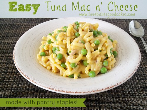 Easy Tuna Mac n' Cheese in bowl with spoon.