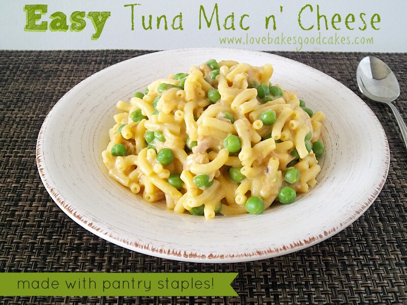 Easy Tuna Mac n' Cheese in a bowl with a spoon.