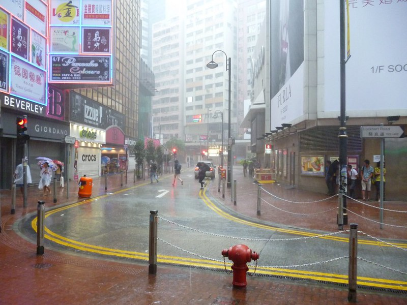 Typhoon day in Hong Kong