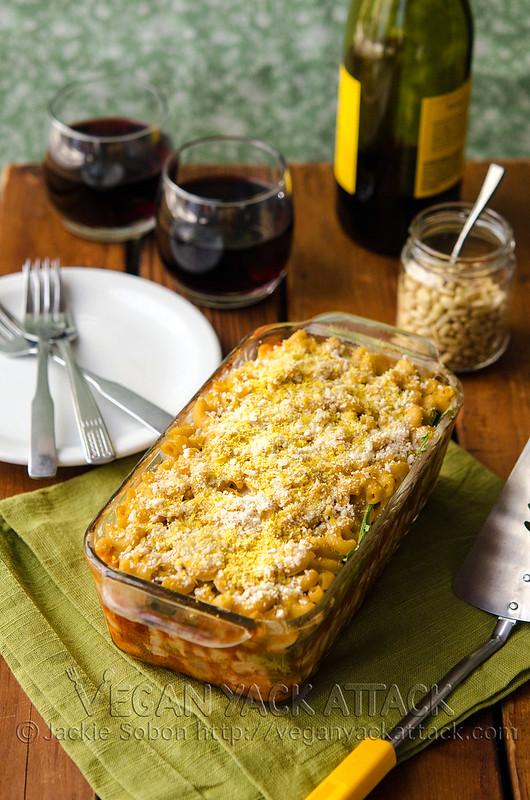 Macaroni Lasagna with White Bean Cheese Sauce | Vegan Yack Attack