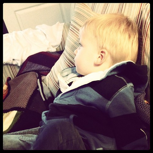 Tired out from a day at nursery.
