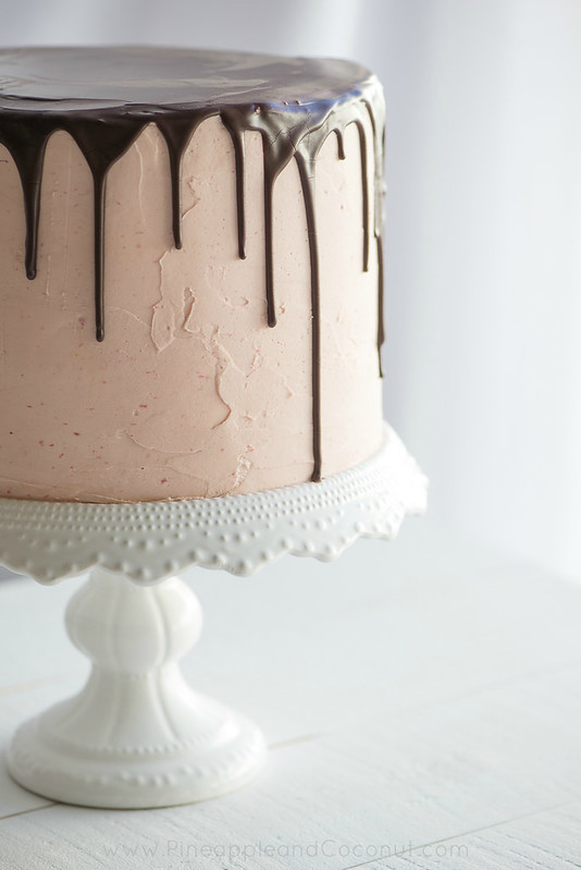 Chocolate Vanilla Tuxedo Cake with Raspberry White Chocolate Buttercream www.PineappleandCoconut.com