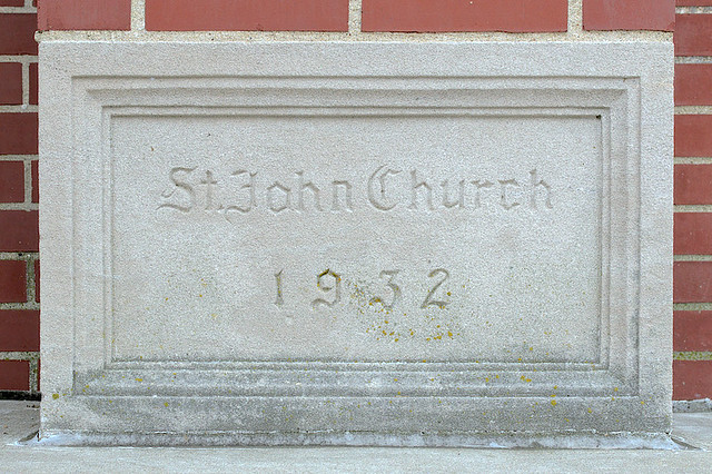 Saint John the Evangelist Roman Catholic Church, in Paducah, Kentucky, USA - cornerstone