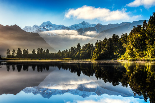 morning blue newzealand lake mountains reflection sunrise mirror solitude quiet pentax cook sigma calm mount nz mtcook southisland westcoast hdr matheson lakematheson k5 neuseeland photomatix 2013 sigma1770