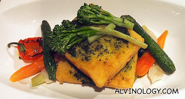 Polenta Mushroom Stack – Mushroom Fricassee, Grilled Portobello, Polenta Cakes, Seasonal vegetable, Pesto (S$34)