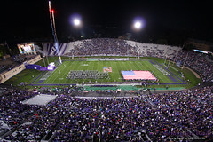 Rockets' Red Glare ::  	   The Northwestern University 'Wildcat' Marching Band performs at Ryan Field as Northwestern Wildcat Football competes against Western Michigan University on September 14, 2013.  Photo by Daniel M. Reck (GSESP08).