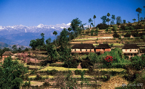 travel nepal houses roof mountains film 35mm asia track hiking 1988 terraces slide snowcapped trail fields fujifilm thatch himalayas scannedslide kathmanduvalley nagarkot centralregion