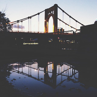 Reflection shot of the Clemente Bridge - Pittsburgh, PA