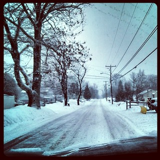 Drive to work this morning #snow #newengland #latergram