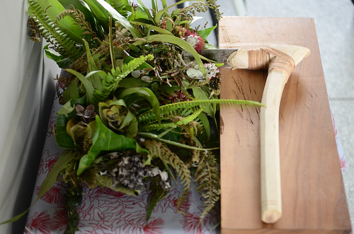 <p>The piko and the koʻi, traditional Hawaiian axe, used during a formal 'Oki Piko ceremony during the grand opening of Hale'ōlelo, the new home of the UH Hilo's Ka Haka 'Ula O Ke'elikōlani College of Hawaiian Language.  The ceremony symbolized the cutting of the umbilical cord to separate Haleʻōlelo from its birth mother to begin its life.</p>
