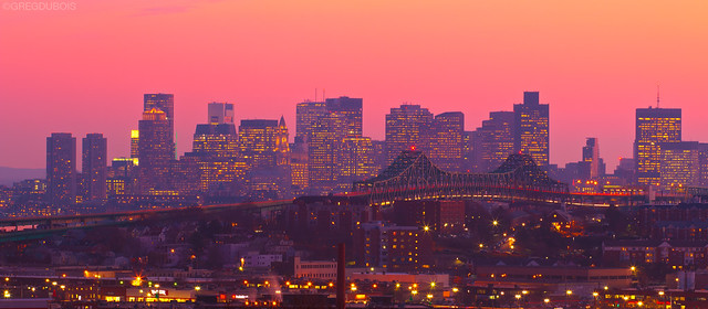Pink Sunset over Boston Skyline and Tobin Bridge, from Everett over Chelsea MA
