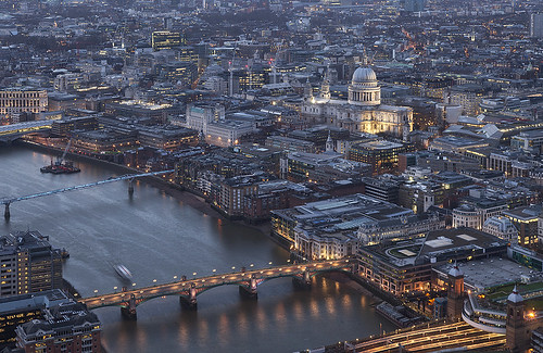 city uk england urban london thames architecture river twilight cathedral dusk stpauls aerial davidbank
