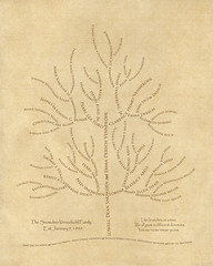 Family tree with names art beige brown ancestry roots