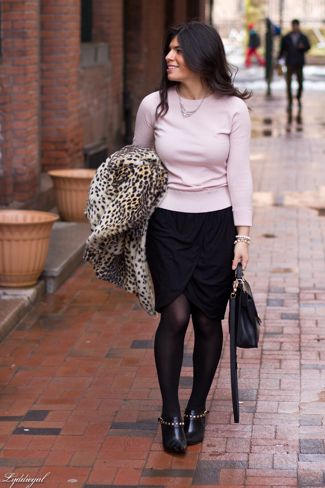 black tulip skirt, pastel pink sweater, leopard coat-1.jpg