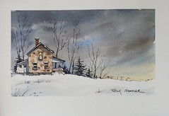 """Moonlit Farmhouse"" Line and Wash Watercolor. New YouTube Video."