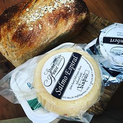 All sorrows are less with bread and cheese #bread #cheese #camembertcheese #ciabatta #blackash #butter #hermanus #markets