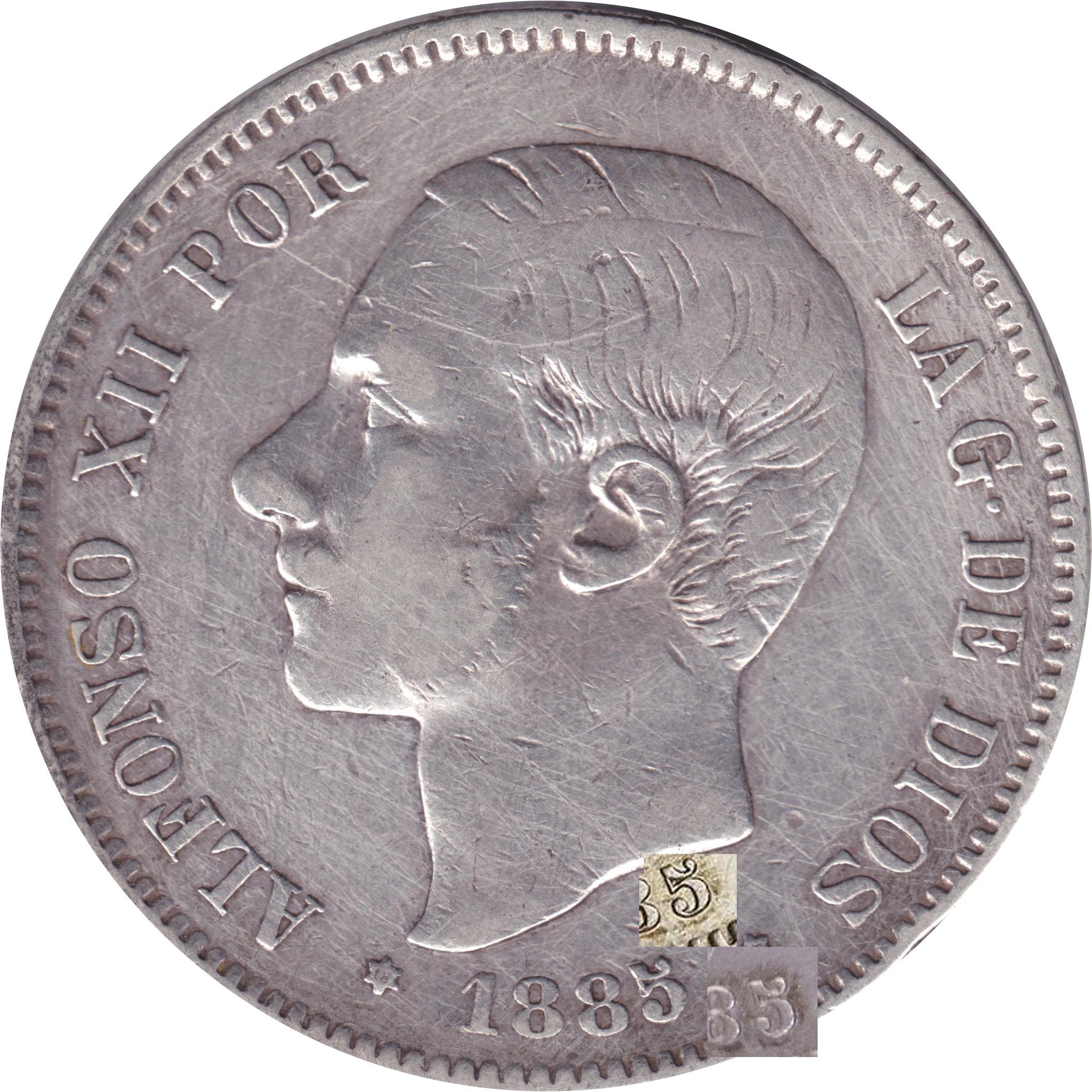 5 Pesetas Alfonso XII 1885 *18 * 87 M.S.M. Falsa o fallo? 8751772890_cd1b8560f1_k