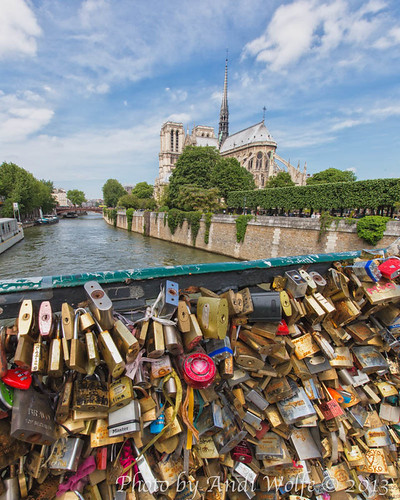 Notre Dame from the bridge of locks by andiwolfe
