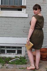 """Olive you outfit: olive green military shirt dress """"Drawstring Safari Dress"""" from Anthropologie, gold Dolce Vita Archer T-strap sandals from Urban Outfitters, vintage gold clutch, maiden braids"""