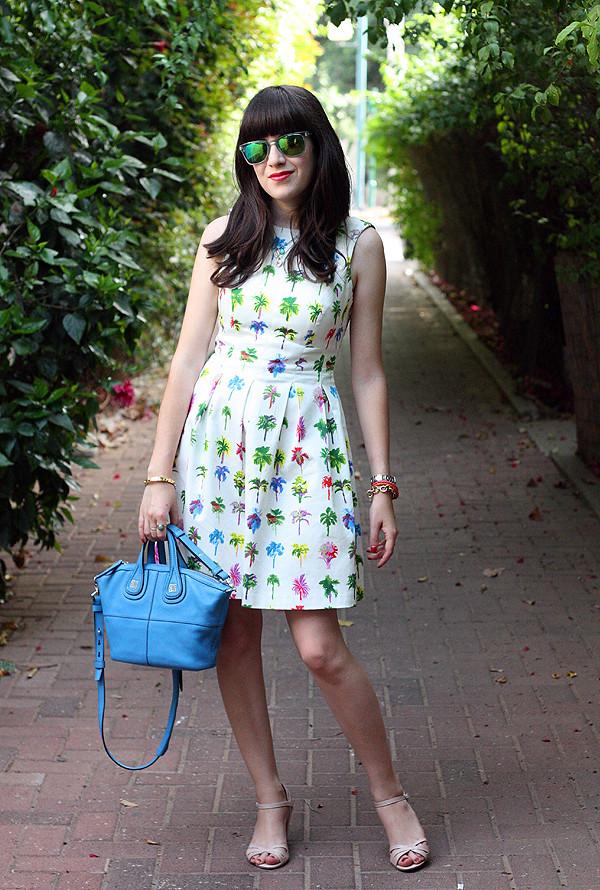 mirrored sunglasses, carerra sunglasses, givenchy bag, zara dress, אפונה בלוג אופנה, משקפי שמש, תיק ג'יבנשי, דקלים, שמלה זארה