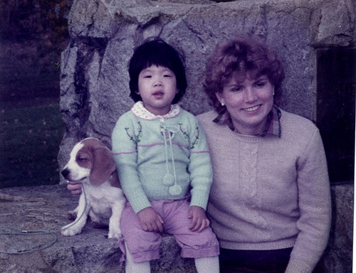 The author and her mom and dog in 1983