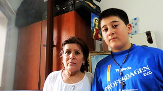 Siham Aho (55) with her son Krist Gourie (13), who survived a brutal robbery by armed gangs looking to profit out of the chaos that has engulfed Syria. They are staying at the Mount Gabriel Monastery in Daher El Souwan, near Beirut in Lebanon. Caritas Lebanon prrovides food kits to the Syrian families and counseling. Credits: Nicholson/Caritas