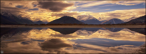 new sunset mountains clouds reflections landscape scenery central lakes reflect zealand pools nz otago queenstown glenorchy dgimages