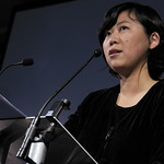 Yiyun Li on stage reading |