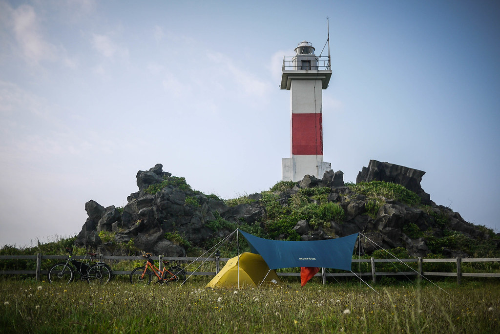 Lighthouse overlooking the Kutsugata-misaki Park Campground on Rishiri Island, Japan