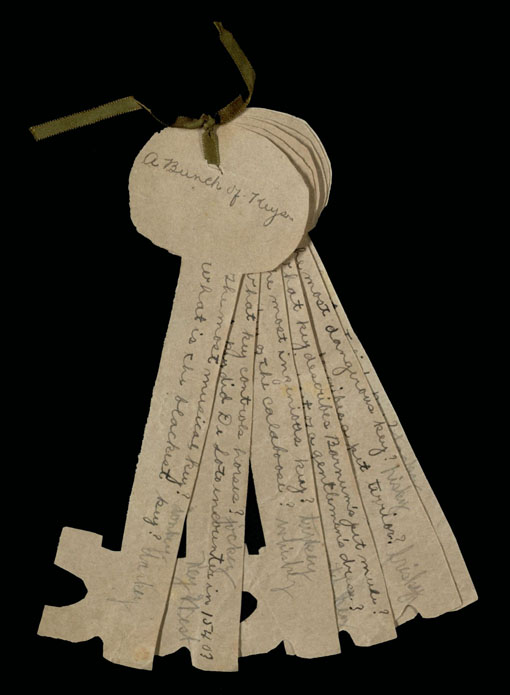 """A Bunch of Keys"" party game, from the Dean of Women (Lily Russell) records at Baylor, undated"