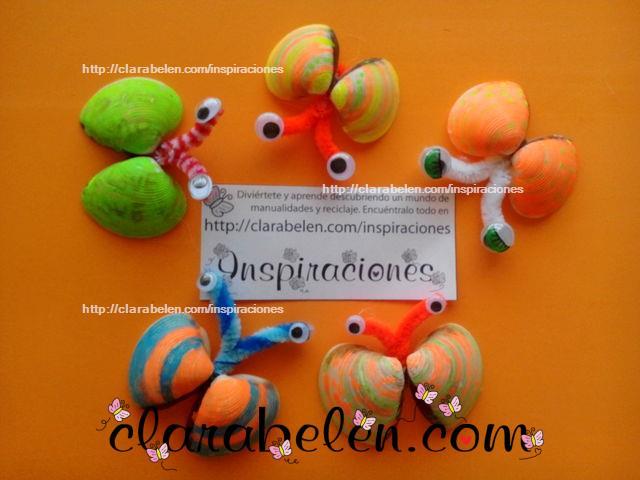 Manualidades para niños_ mariposas hechas con almejas