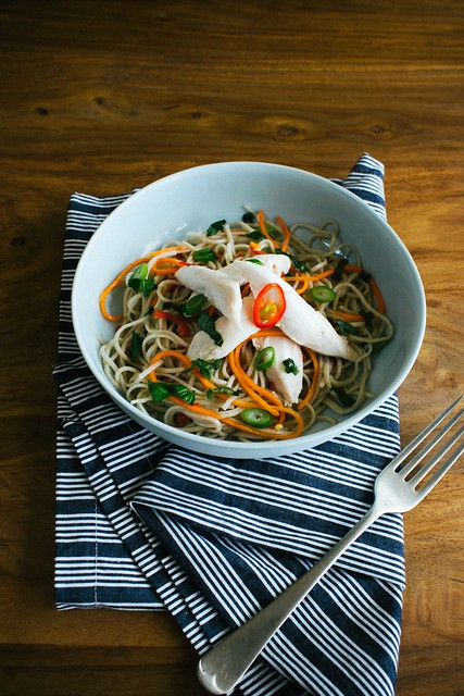 Ginger Poached Chicken with Tangy Soba Noodle Salad ...