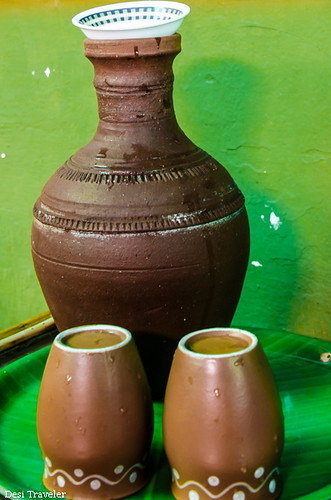 Earthen pot surahee with two glasses
