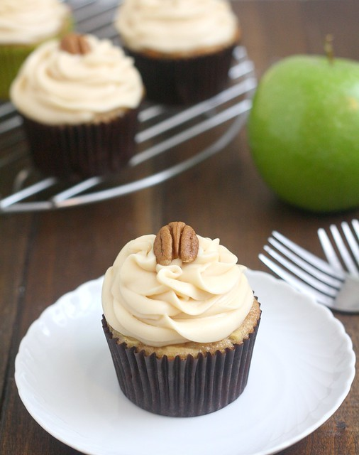 Apple-Cinnamon Cupcakes with Caramel Cream Cheese Frosting