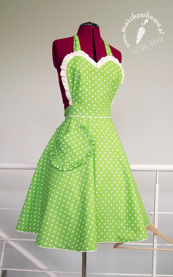 Green 50s style apron, szycie, krawiectwo, marchewkowa, fartuszek, retro, vintage, szyciowy blog roku 2012