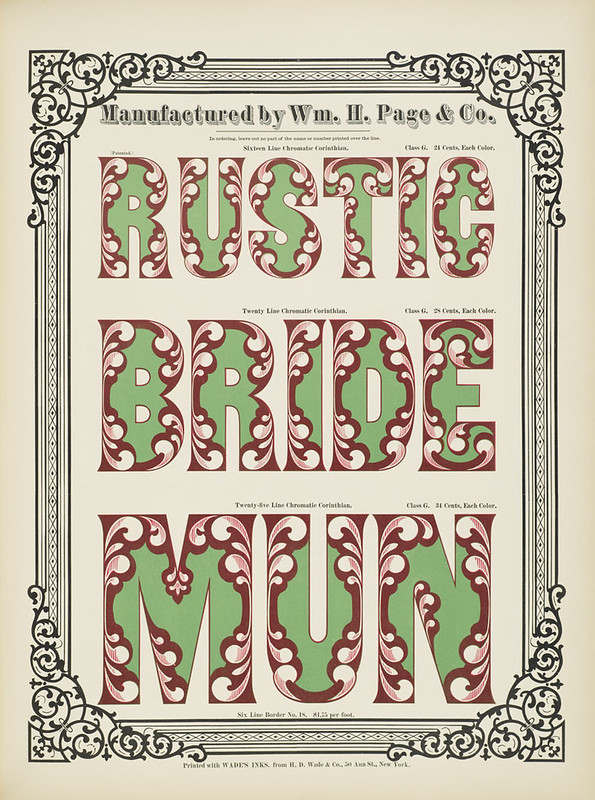 Specimens of chromatic wood type, borders 1874 - [via Columbia U] Rustic + Bride + Mun) Corinthian type