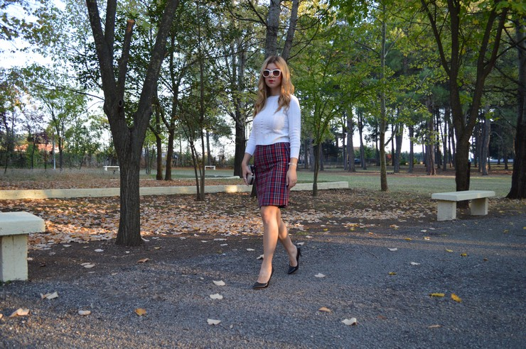 check skirt white top 5