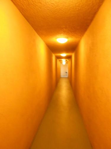 Terrifyingly orange hallway, sparsely lit.