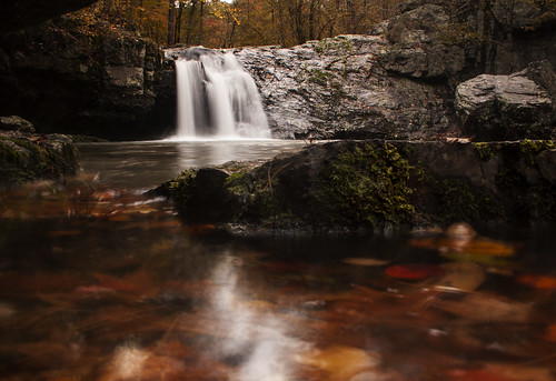 longexposure autumn light shadow red orange mountain lake color green fall nature leaves yellow rock creek canon dark season lens outside outdoors waterfall soft hard kitlens hike change arkansas kit 1855mm ozarks ouachita pinestraw 40d canon40d