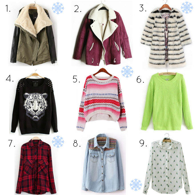 Chemjoy wishlist:  Faux fur collar jacket,Vintage suede jacket, Vintage striped coat, Tiger print rivet sweater, Pink contrast woolen sweater, Neon color sweater, Contrast plaid shirt, Tribal embroidery denim shirt, Parrot print blouse