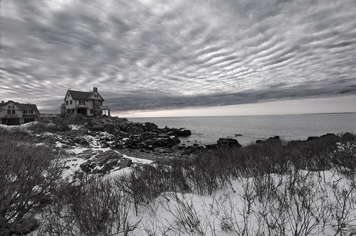 winter sky bw cold monochrome clouds landscape coast maine kennebunkport seashore stonehouse