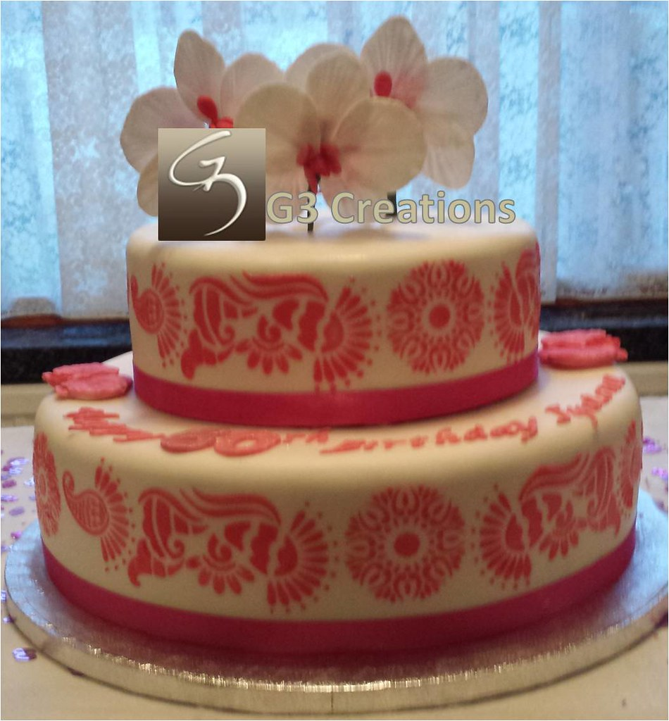 2 Tier Orchid 60th Pink Birthday Cake