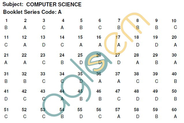 PU CET 2013 Question Paper with Answers - Computer Science