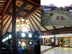 左:候機室挑高的天花板可見傳統雕花壁飾;右上:登機入口的編號是「種」在花園裡。右下:許多店家的門面跟這家書店有濃厚傳統色調,使人感受到當地濃郁的文化色彩。