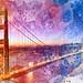 Golden Dawn Bridge - Vibrant Acrylic Infusion by freestock.ca ♡ dare to share beauty