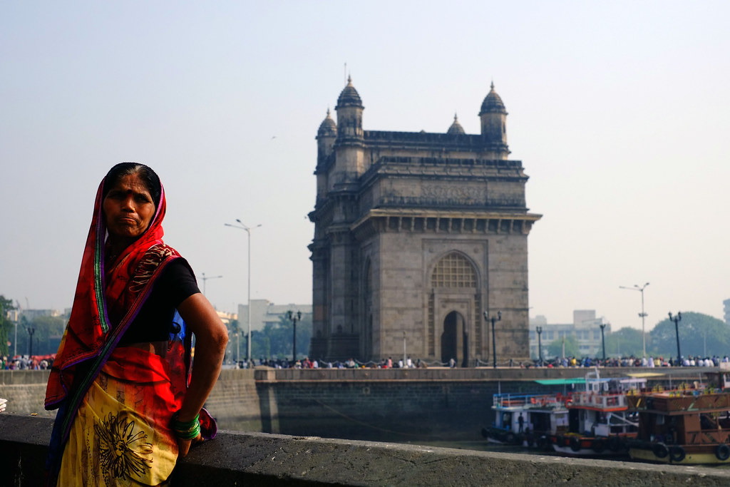 Indian woman and Gateway to India