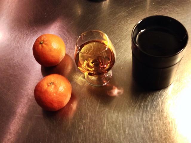 Tea. Brandy. Clementines