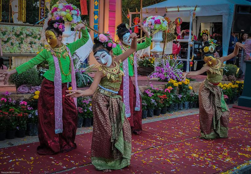 Masked Thai Dancers, Chiang Mai Flower Festival 2014