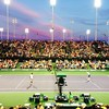 Incredible doubles match at sunset under the lights. Murray/Marray vs Monaco/Monfils. Murray/Marray won the match but Monfils stole the show. #indianwells